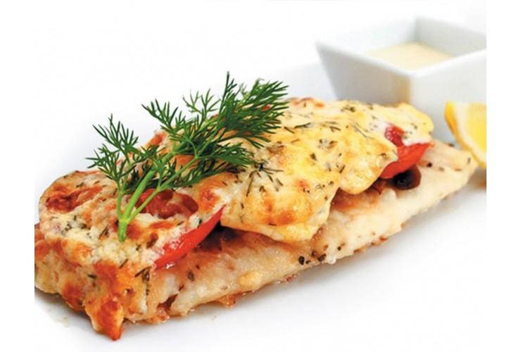 Филе судака с овощной домашней икрой